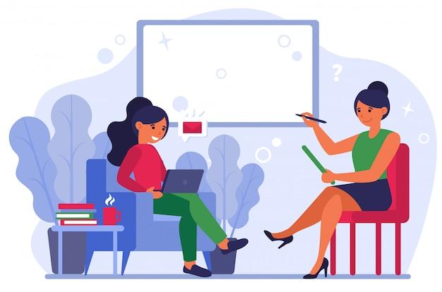 Femmes Discutant D'un Nouveau Message Vecteur gratuit