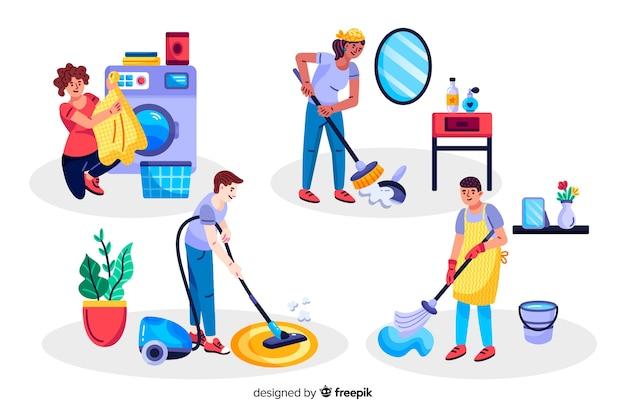 Femmes et enfants faisant le ménage Vecteur gratuit