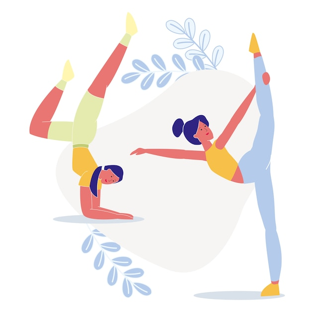 Les femmes font du yoga ensemble illustration à plat Vecteur Premium