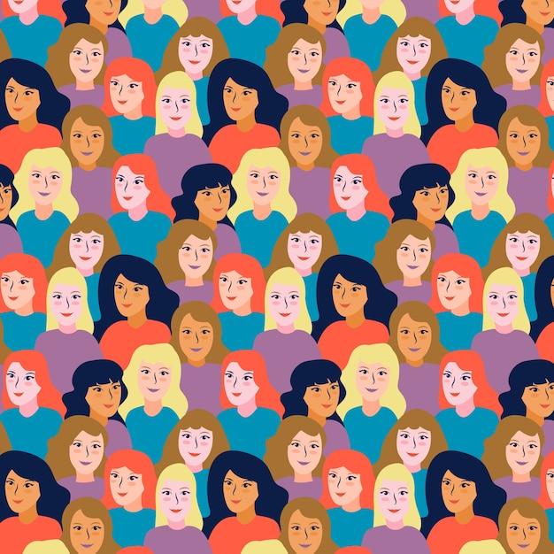 Les Femmes Font Face à La Journée Des Femmes Vecteur gratuit