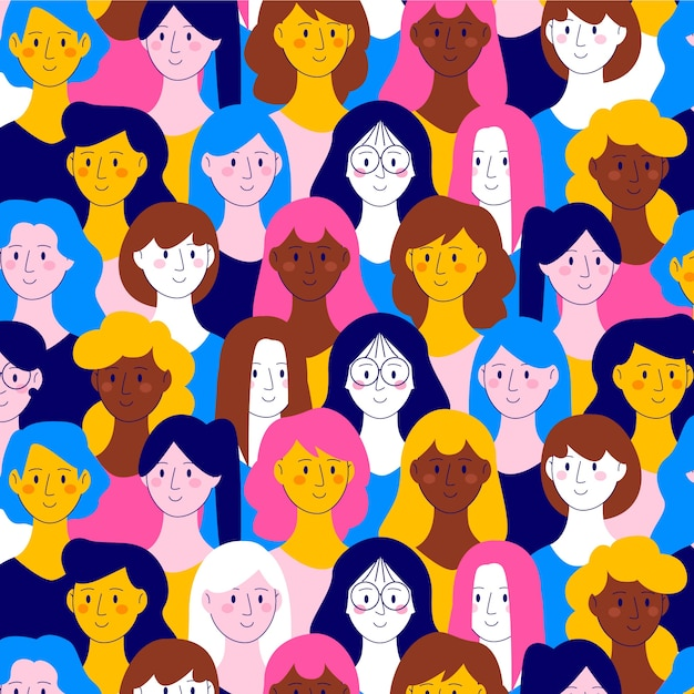 Les Femmes Font Face à Un Modèle Pour La Journée Des Femmes Vecteur gratuit