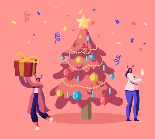 Femmes Heureuses En Chapeaux De Cornes De Cerf Célébrant Le Nouvel An Ou La Fête De Noël. Illustration Plate De Dessin Animé Vecteur Premium