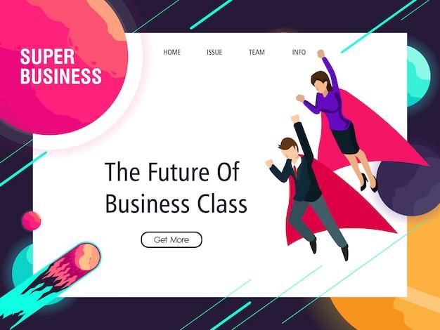 Les femmes et les hommes d'affaires super travaillent pour le succès Vecteur Premium