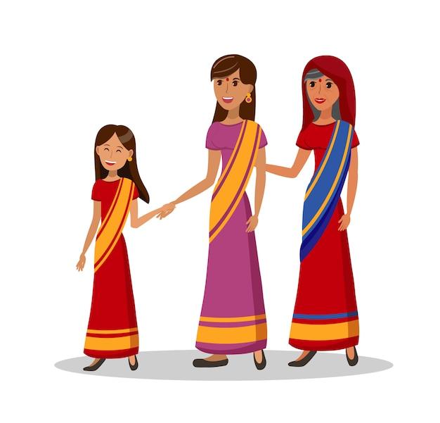 Femmes indiennes Vecteur Premium