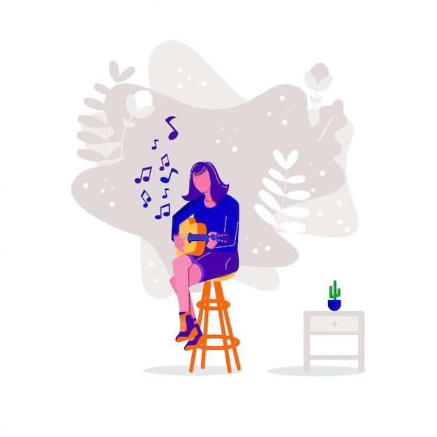 Femmes jouant de la guitare acoustique Vecteur Premium