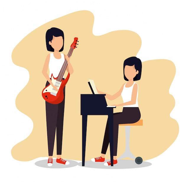 Les femmes jouent de la musique instrument au festival de jazz Vecteur gratuit