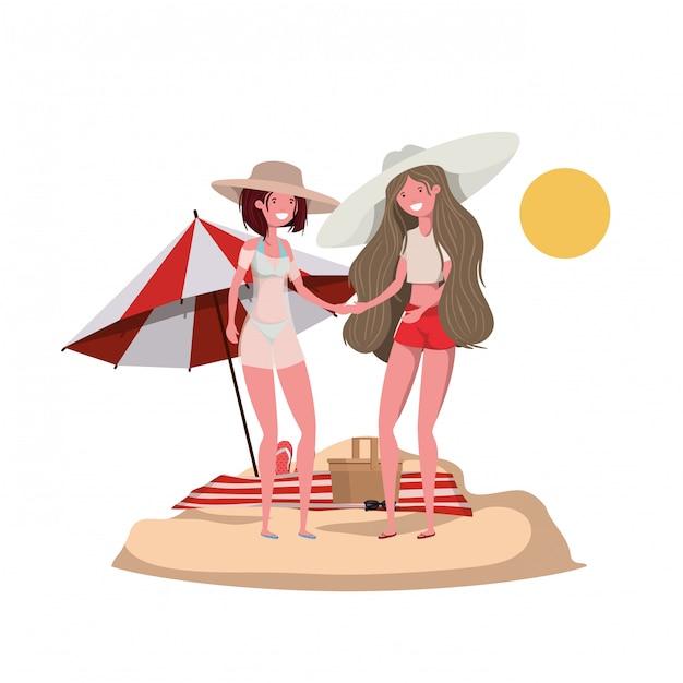 Femmes avec maillot de bain sur la plage et parasol Vecteur gratuit