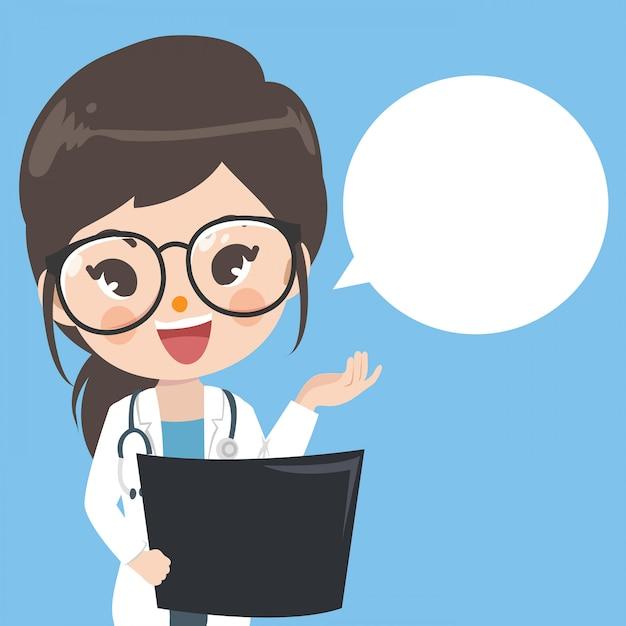 Les femmes médecins recommandent la connaissance et il y a des espaces pour les mots. Vecteur Premium