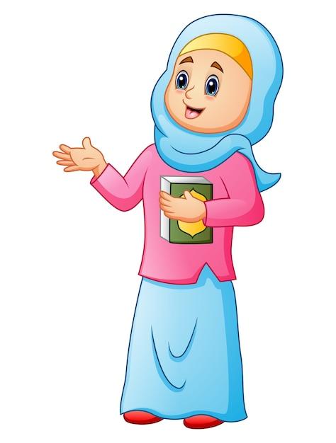 Femmes Musulmanes Portant Un Voile Bleu Avec Tenant Coran Presentant Vecteur Premium