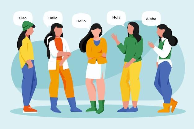 Femmes parlant dans différentes langues Vecteur gratuit