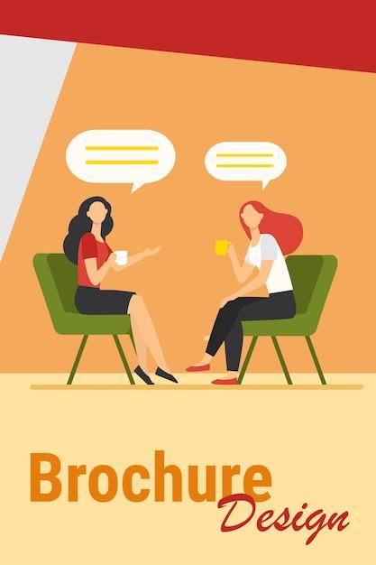 Les Femmes Parlent Autour D'une Tasse De Café. Amies Réunies Dans Un Café, Illustration Vectorielle Plane De Bulles De Chat. Amitié, Concept De Communication Vecteur gratuit