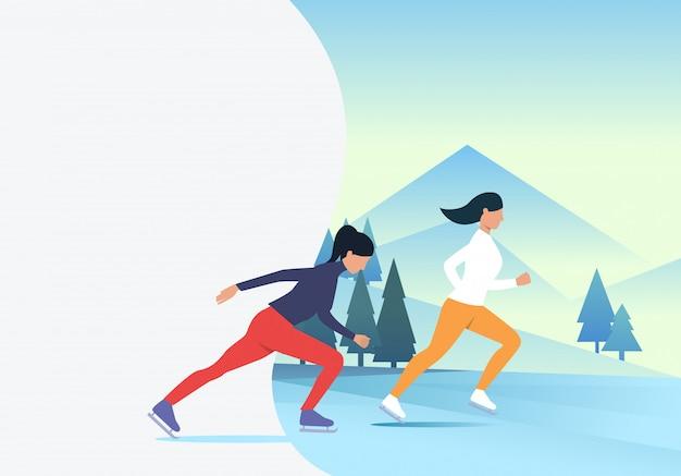 Femmes patinant sur un paysage enneigé Vecteur gratuit