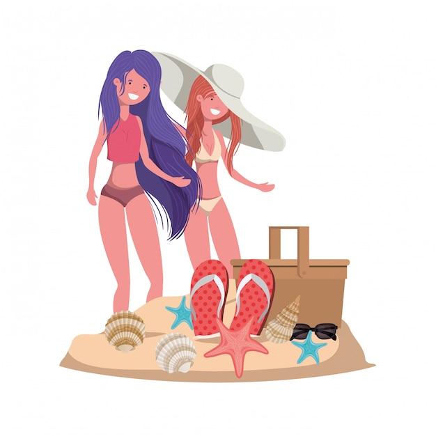 Femmes sur la plage avec panier pique-nique Vecteur gratuit