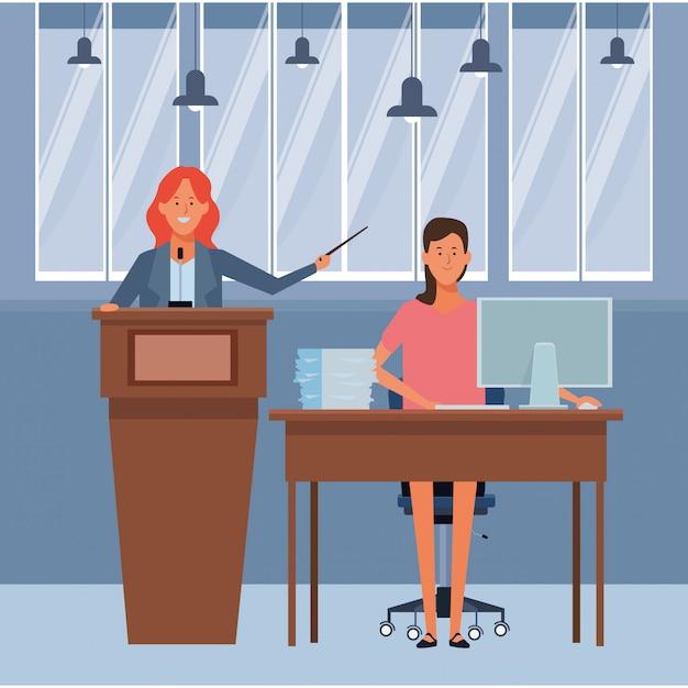 Femmes sur un podium et un bureau Vecteur Premium