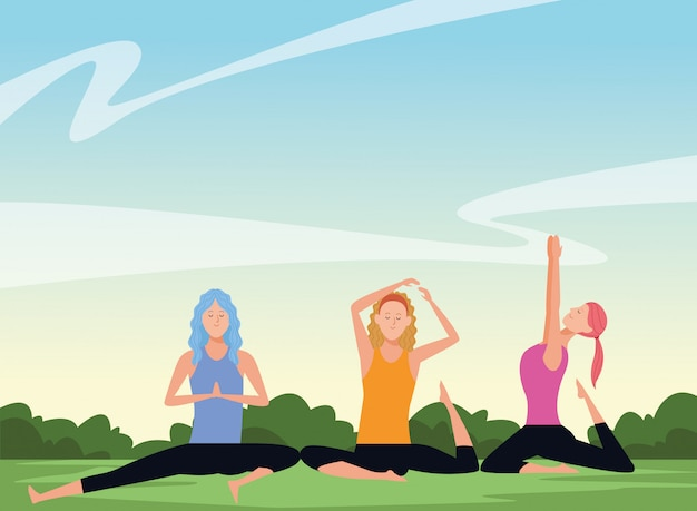 Femmes poses de yoga Vecteur Premium