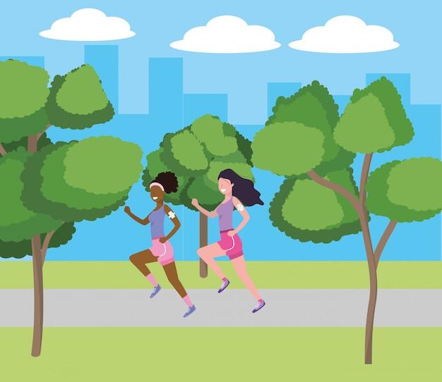 Femmes qui courent avec sportwear Vecteur Premium