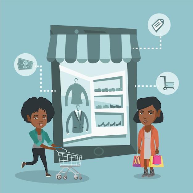 Les femmes qui marchent dans un magasin qui ressemble à une tablette. Vecteur Premium