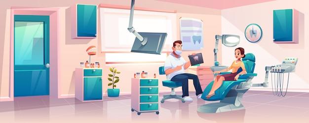 Femmes Sur Rendez-vous Chez Le Dentiste Vecteur gratuit