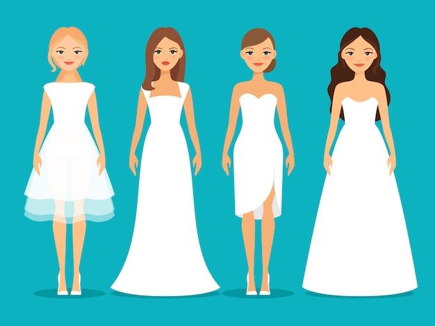 Femmes en robes de mariée sur fond bleu Vecteur Premium