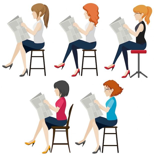 Les femmes sans visage lisant Vecteur gratuit