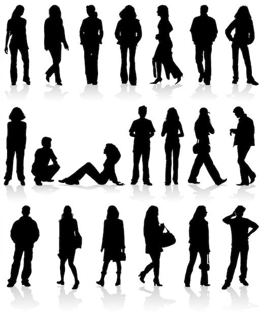 Femmes et silhouettes vectorielles Vecteur Premium