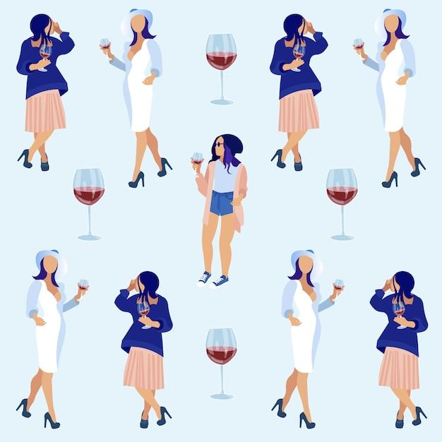 Femmes tenant des lunettes avec du vin rouge et parler. Vecteur Premium