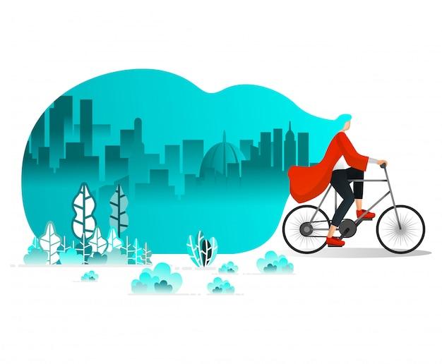 Les femmes à vélo dans la ville Vecteur Premium