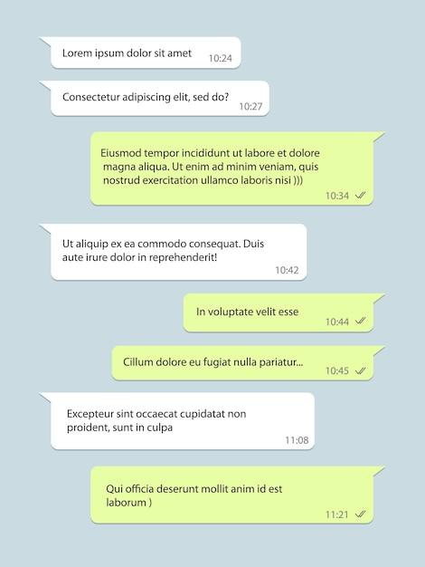 Fenêtre De Chat De Réseau Social, Bulle De Dialogue Avec Texte Vecteur Premium