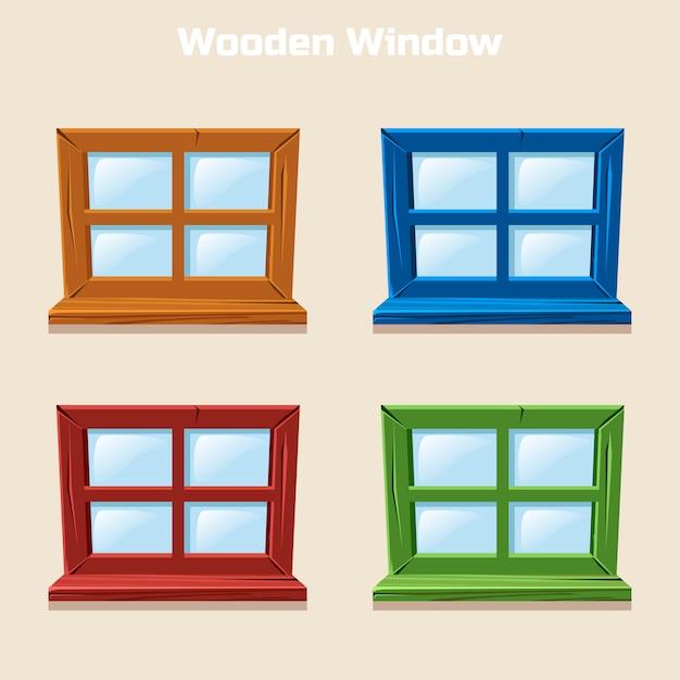 Fenêtre Colorée En Bois De Dessin Animé Vecteur Premium