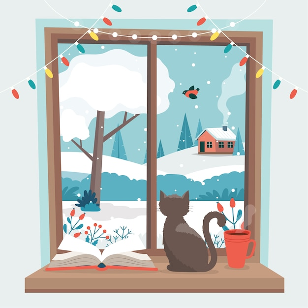 Fenêtre d'hiver, avec un chat, un livre et une tasse de café sur le rebord. Vecteur Premium