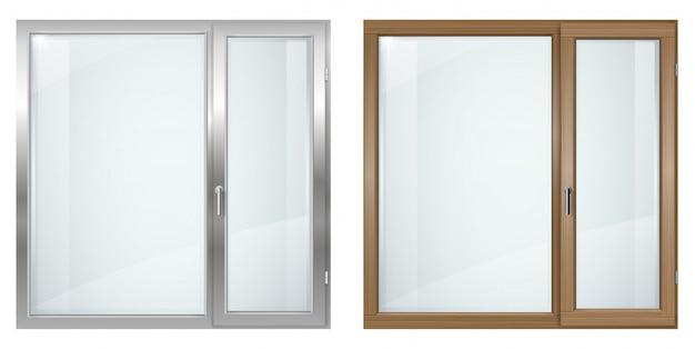 Fenêtre Large Moderne En Bois Et Plastique Gris Vecteur Premium