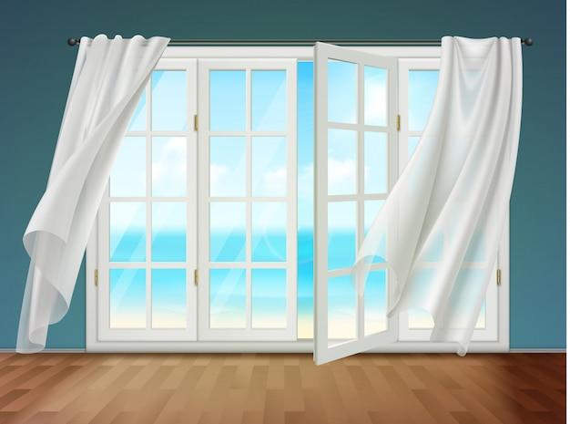 Fenêtre ouverte avec des rideaux flottants Vecteur gratuit