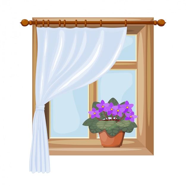 Une fenêtre avec des rideaux Vecteur Premium