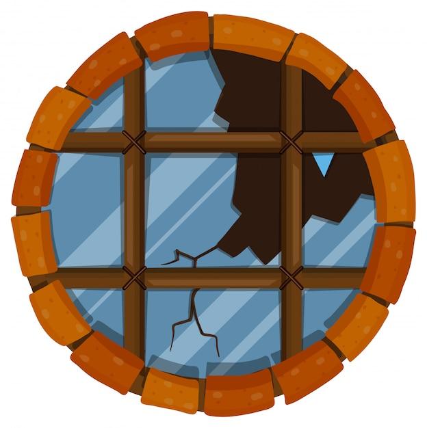 Fenêtre ronde avec verre brisé Vecteur gratuit