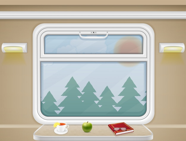 Fenêtre et table dans le vecteur de compartiment de train Vecteur Premium