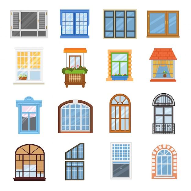 Fenetre Vectorielle Maison Moderne Vue Verre Cadre Arch Illustration Ensemble Vecteur Premium