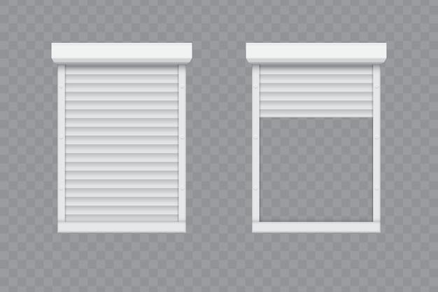 Fenêtre de volets roulants fermée et ouverte. Vecteur Premium