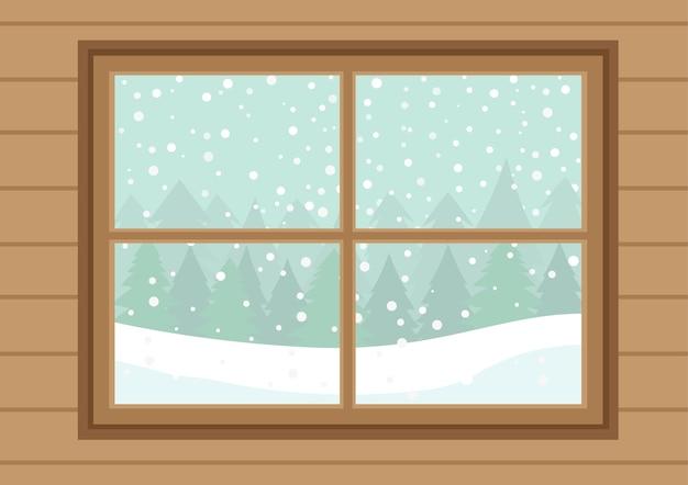 Fenêtres En Bois Avec Des Chutes De Neige Blanches Vecteur Premium