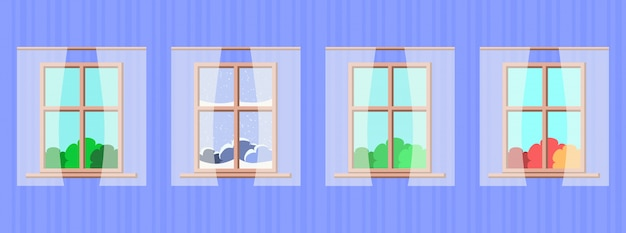 Fenêtres avec différentes saisons et paysages météorologiques Vecteur Premium