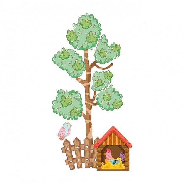 Ferme aux oiseaux de coq dans la maison en bois Vecteur Premium