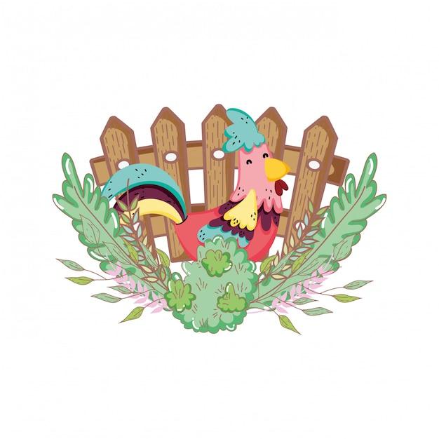 Ferme aux oiseaux de coq avec jardin et clôture Vecteur Premium