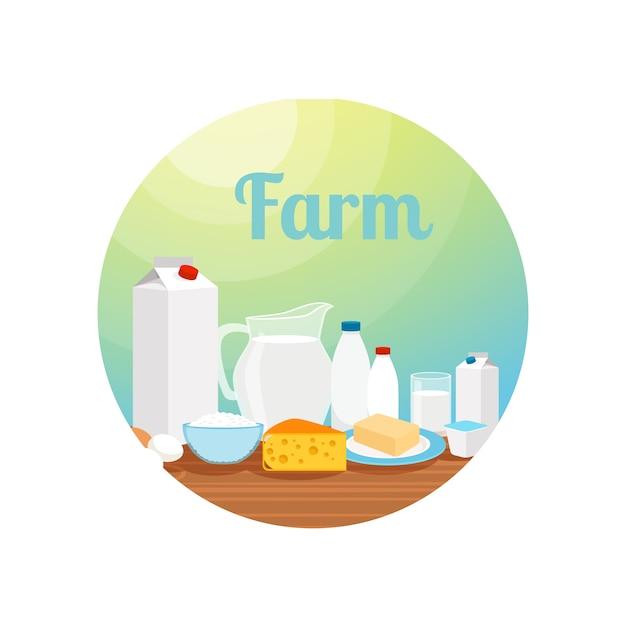 Ferme avec cercle de nourriture de lait Vecteur Premium