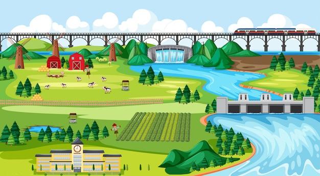 Ferme Champ Ville Et école Et Pont Sky Train Avec Côté Barrage Paysage Scène Style Cartoon Vecteur gratuit