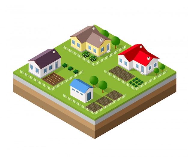 Ferme ensemble de maisons Vecteur Premium