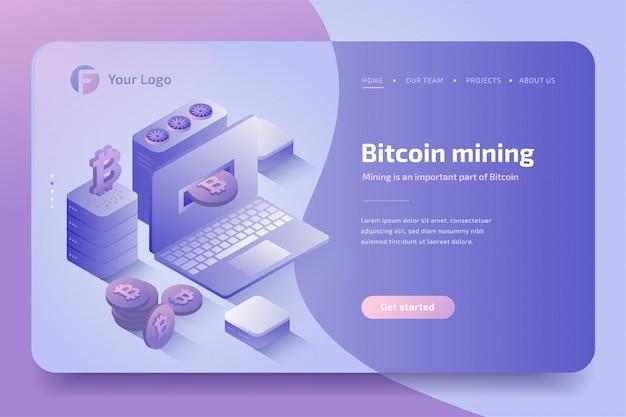 Ferme D'extraction De Crypto-monnaie. Technologie Crypto-monnaie Et Blockchain, Création De Bitcoins. Isométrique Vecteur Premium