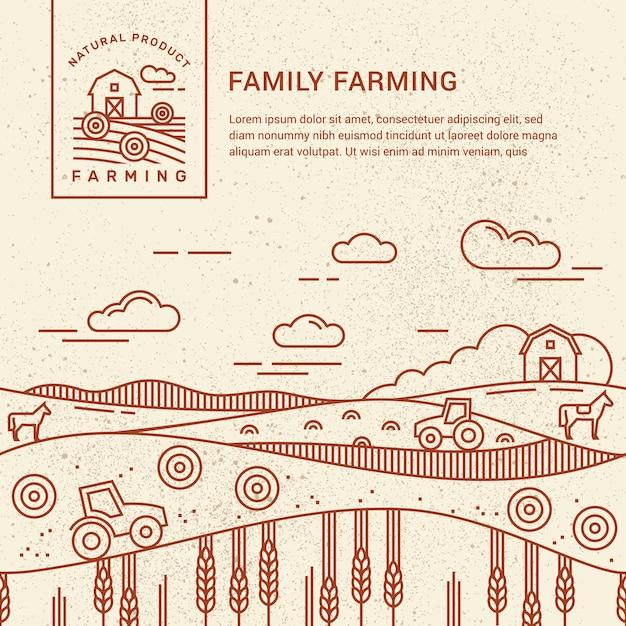 Ferme familiale avec une place pour le modèle de texte et logo Vecteur Premium