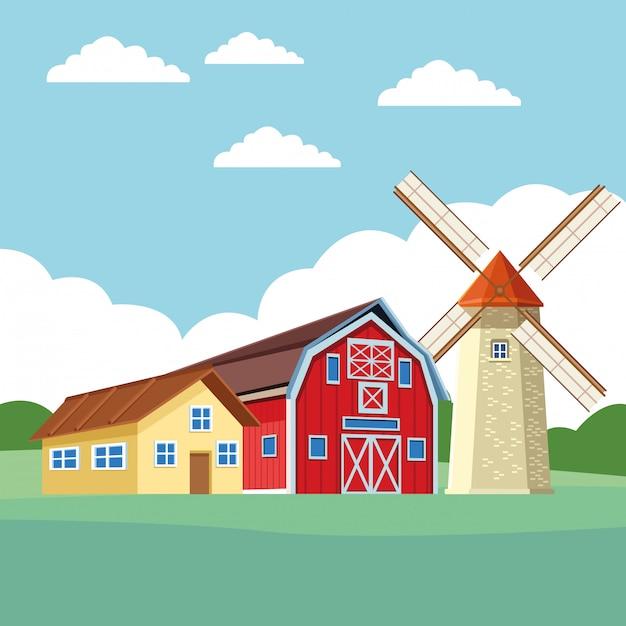 Ferme grange et moulin à vent Vecteur Premium