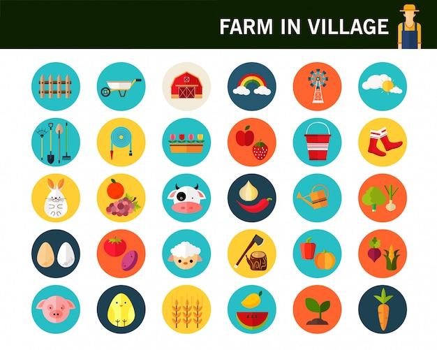 Ferme En Icônes De Concept De Village. Vecteur Premium