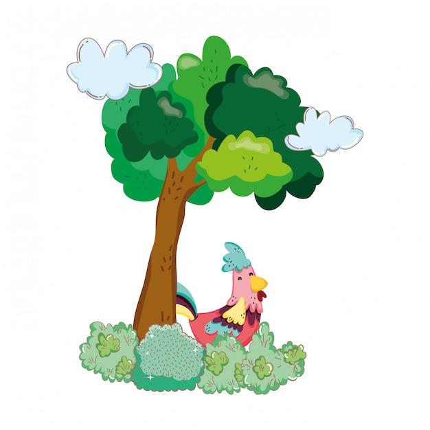 Ferme à oiseaux coq avec arbre Vecteur Premium