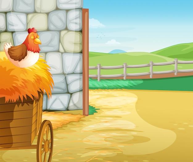 Une ferme avec une poule au dessus des foins Vecteur Premium